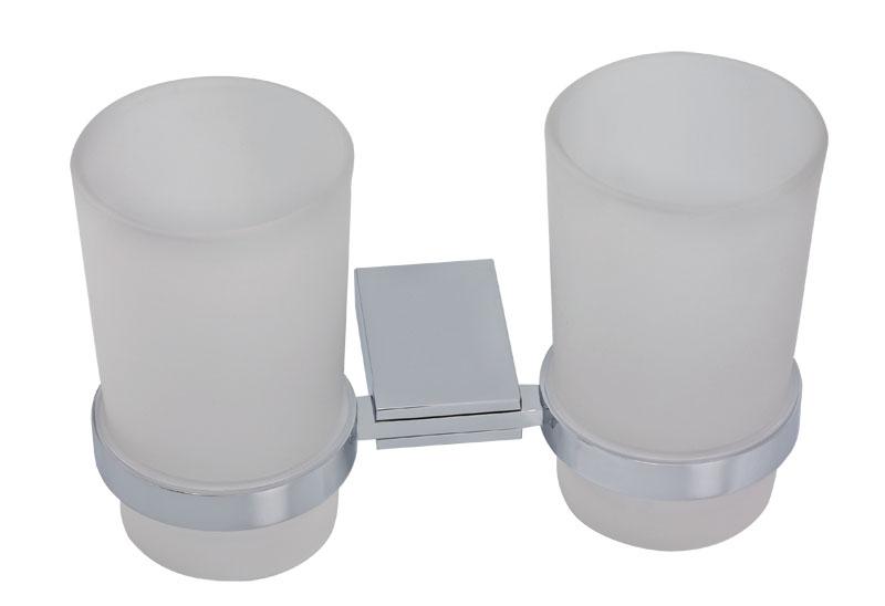 Dvojitý držák kartáčků a pasty sklo Metalia 9 chrom