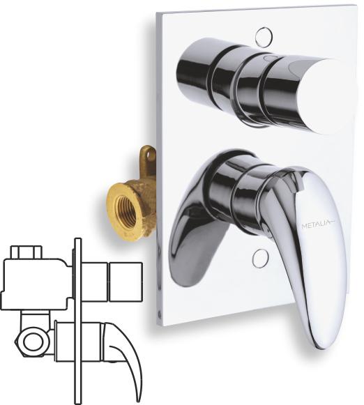 Vanová sprchová baterie s přepínačem Metalia 55 chrom