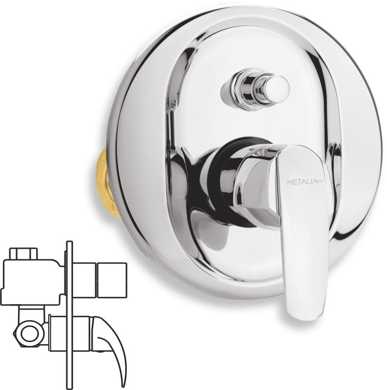 Vanová sprchová baterie s přepínačem Metalia 56 chrom
