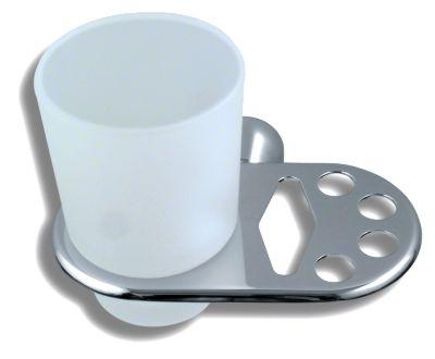 Držák kartáčků a skleničky Metalia 3 chrom