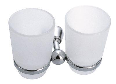 Dvojitý držák kartáčků a pasty sklo Metalia 3 chrom