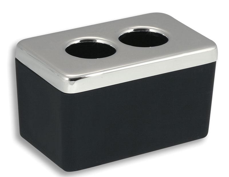 Dóza na kosmetické tampony Metalia 4 černá-chrom