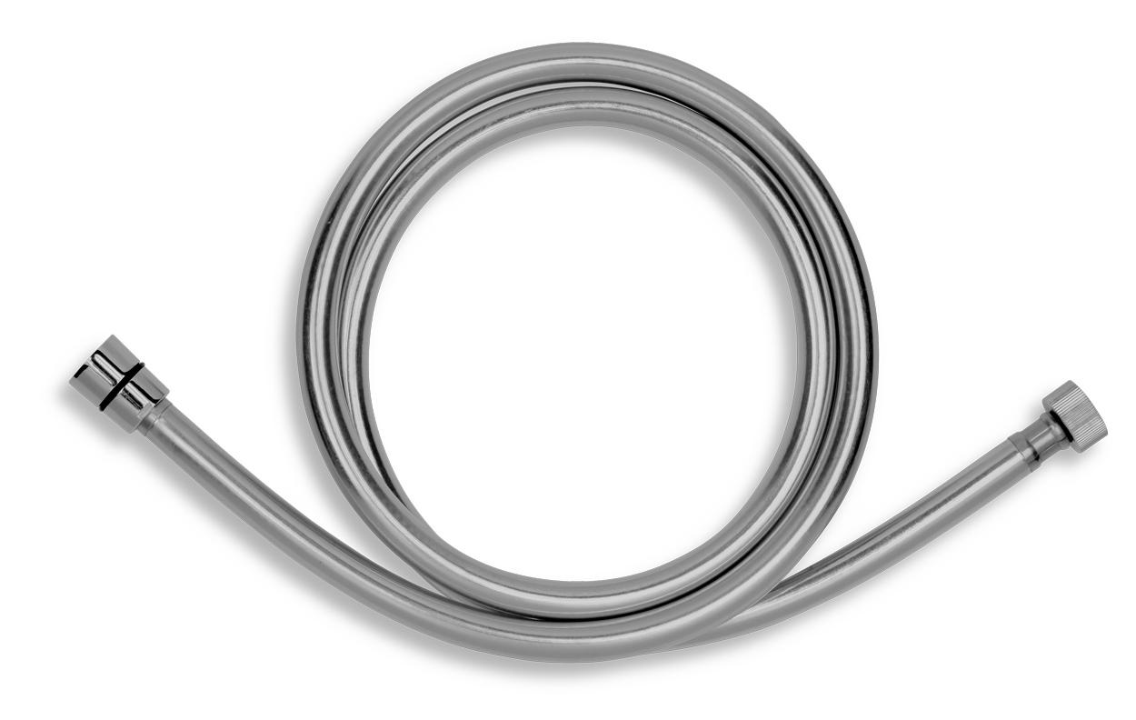 Sprchová hadice plastová, 150 cm, stříbrošedá